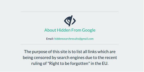 Hidden From Google contra el derecho al olvido