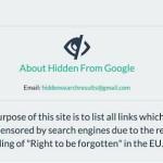 Hidden from Google, una web contra el derecho al olvido