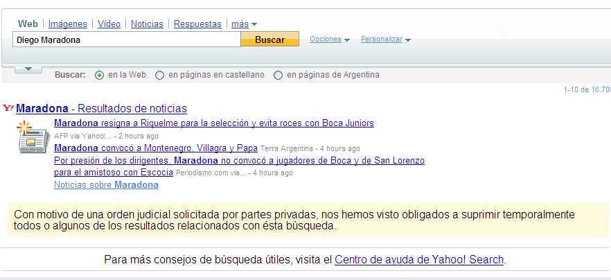 Aviso sobre derecho al olvido de Yahoo Argentina